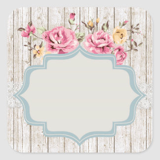 Shabby Chic Floral Rustic Wood & Vintage Lace スクエアシール