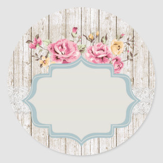 Shabby Chic Floral Rustic Wood & Vintage Lace ラウンドシール