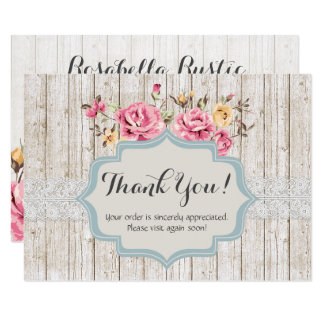 Shabby Chic Floral Rustic Wood Vintage Thank You カード
