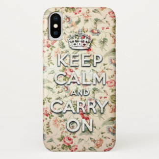 Shabby chic keep calm and carry on iPhone x ケース