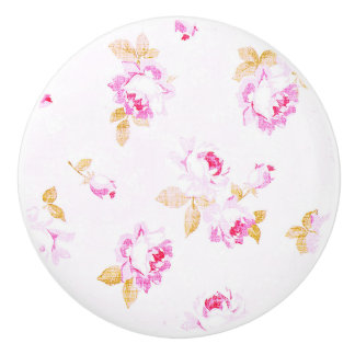 Shabby Chic Pale Pink Rose Furniture Pull / Knob セラミックノブ