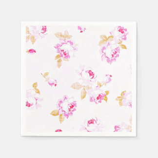 Shabby Chic Pale Pink Rose Paper Napkin スタンダードカクテルナプキン