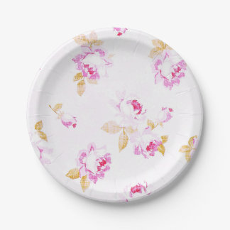 Shabby Chic Pale Pink Rose Paper Plate ペーパープレート