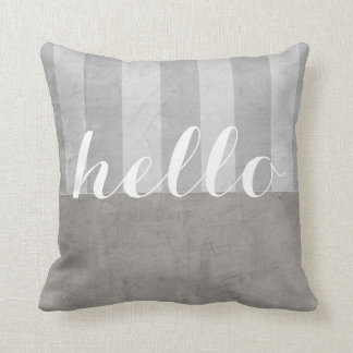 shabby chic throw pillow gray and white with hello クッション