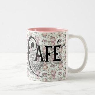 Shabbychicのフランスのなカフェのピンクの花柄のコーヒー ツートーンマグカップ