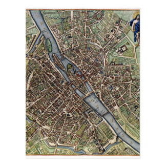 shabbychicヴィンテージのパリの古い地図 ポストカード