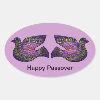 Shalomのハト派議員の幸せな過ぎ越しの祝いのステッカー 楕円形シール