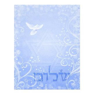 Shalomの鳩の青い渦巻8.5x11の紙 レターヘッド