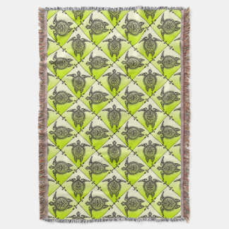 Shamanicのウミガメパターン-緑の垂直 スローブランケット