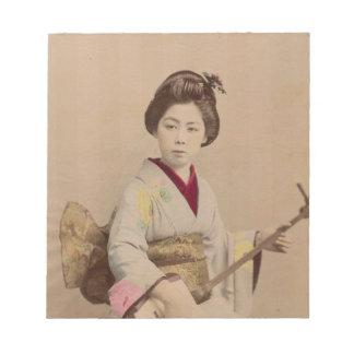 Shamisenを遊んでいるヴィンテージの日本のな芸者 ノートパッド