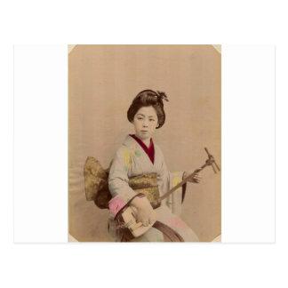 Shamisenを遊んでいるヴィンテージの日本のな芸者 ポストカード