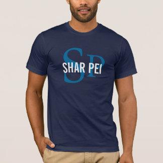 Shar Pei犬の品種か愛犬家のイニシャルのワイシャツ Tシャツ