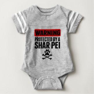 Shar Pei著保護される警告 ベビーボディスーツ