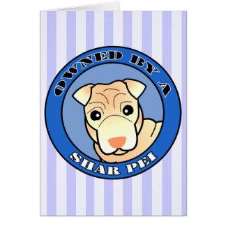 Shar Pei -クリーム色のコート著所有される-青 カード