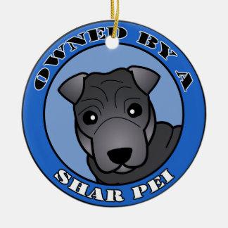 Shar Pei -青いコート著所有される-青 セラミックオーナメント
