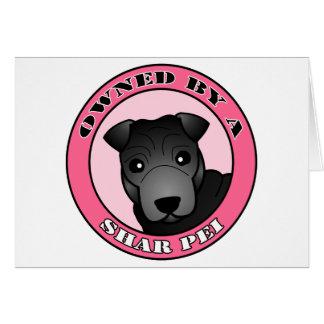 Shar Pei -黒いコート著所有される-ピンク カード
