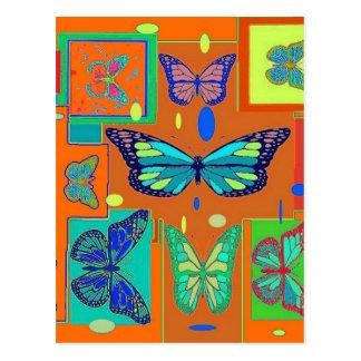 sharlesによるティール(緑がかった色)の蝶バタースコッチのギフト ポストカード