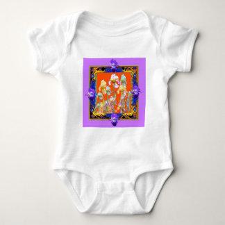 sharlesによる華やかに薄紫によって組み立てられるアイリス庭 ベビーボディスーツ