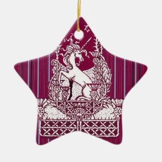 sharlesの芸術によるユニコーンのアザミのバーガンディの芸術 陶器製星型オーナメント