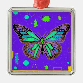 Sharles著ティール(緑がかった色)水のマダラチョウの紫色 メタルオーナメント