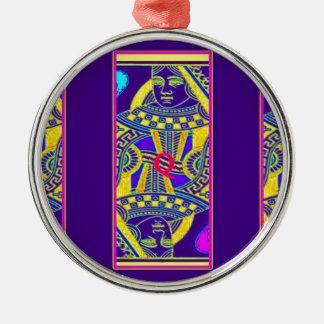 Sharles著パレードの女王のナスの紫色 メタルオーナメント