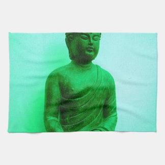 Sharles著仏の緑の青銅色の彫像 キッチンタオル