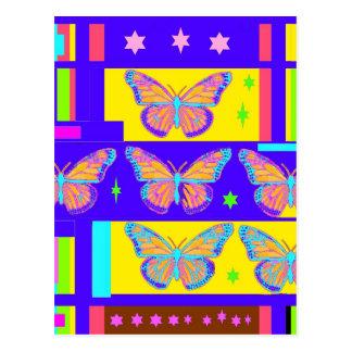 Sharles著作のコバルトブルーの蝶芸術のコラージュ ポストカード