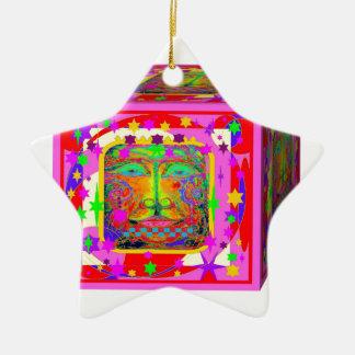 Sharles著子供のおもちゃのブロックのファンタジーの顔星のギフト セラミックオーナメント