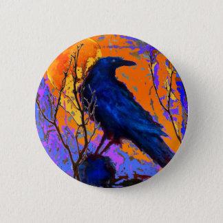 Sharles著神秘的で青いワタリガラスの月 5.7cm 丸型バッジ