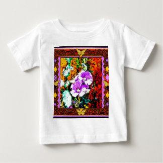 Sharles著素朴なHollyhocksのブラウンの庭の芸術 ベビーTシャツ