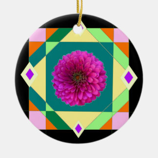 Sharles著紫色の《植物》百日草の近代美術 陶器製丸型オーナメント
