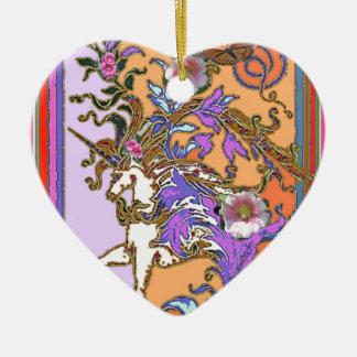 Sharles著紫色サケのユニコーンのパーティーのギフト 陶器製ハート型オーナメント