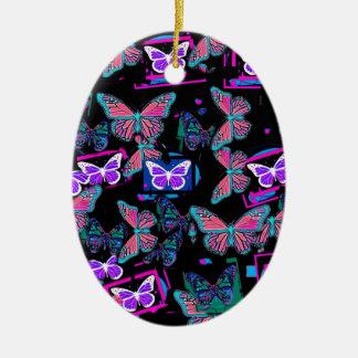 Sharles著薄紫及びティール(緑がかった色)の蝶黒いギフト セラミックオーナメント