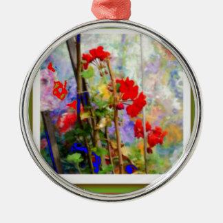 Sharles著赤いゼラニウムの花園 メタルオーナメント