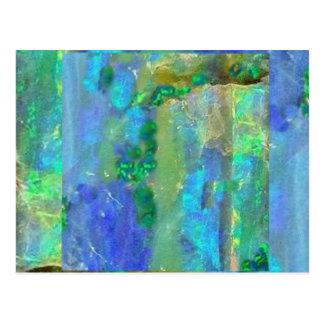 Sharles著青いオパール10月Birthstone ポストカード