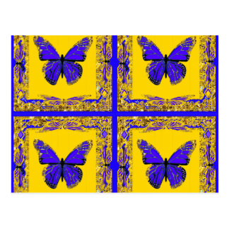 Sharles著青いコバルトの蝶金ゴールドのギフト ポストカード
