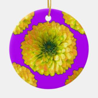 Sharles著黄色緑の《植物》百日草の王室のな紫色のギフト 陶器製丸型オーナメント