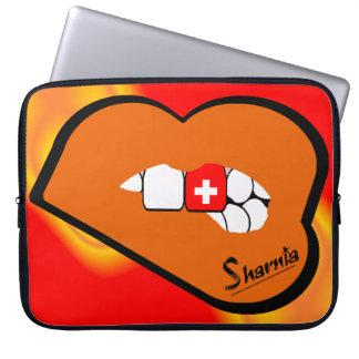 Sharniaの唇のスイス連邦共和国のラップトップスリーブオレンジLP ラップトップスリーブ