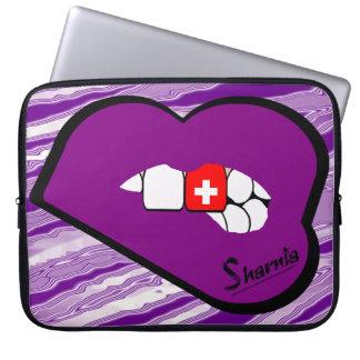 Sharniaの唇のスイス連邦共和国のラップトップスリーブPrple LP ラップトップスリーブ