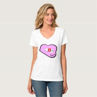 Sharniaの唇のスイス連邦共和国の上(Pink Lips Lt) Tシャツ