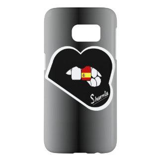 Sharniaの唇のスペインの携帯電話の箱Blk LP Samsung Galaxy S7 ケース