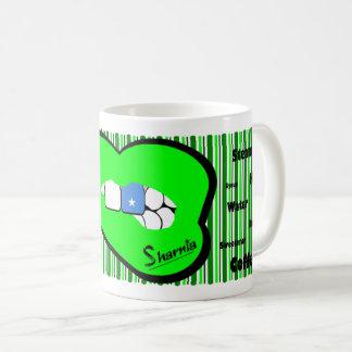 Sharniaの唇のソマリアのマグ(緑の唇) コーヒーマグカップ