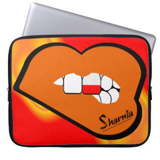 Sharniaの唇のポーランドのラップトップスリーブ(オレンジ唇) ラップトップスリーブ