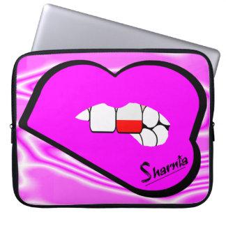 Sharniaの唇のポーランドのラップトップスリーブ(ピンクの唇) ラップトップスリーブ