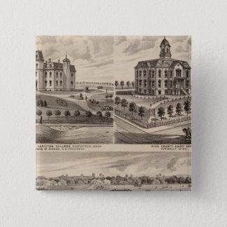 Shattuckの学校、Faribault Willisホール、ミネソタ 5.1cm 正方形バッジ