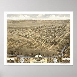 ShelbyvilleのILのパノラマ式の地図- 1869年 ポスター