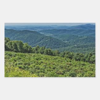 Shenandoahの国立公園からの東の眺め 長方形シール