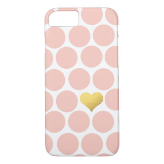 Sherbertの水玉模様の金ゴールドホイルのハートのiPhone iPhone 8/7ケース