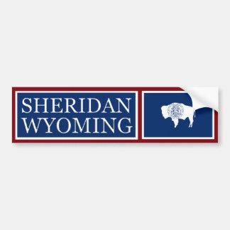 Sheridanワイオミングの州の旗のバンパーステッカー バンパーステッカー