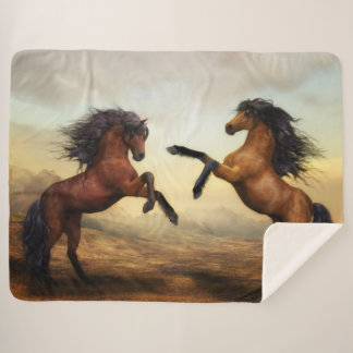 Sherpa毛布を絵を描いている決闘の種馬 シェルパブランケット